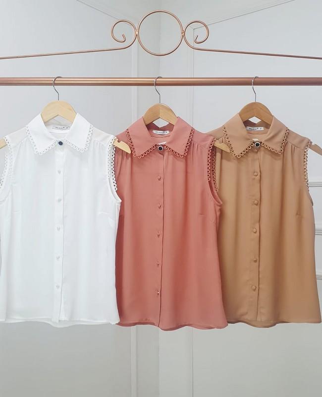 Camisa Regata com Aplicacao de Renda Milalai