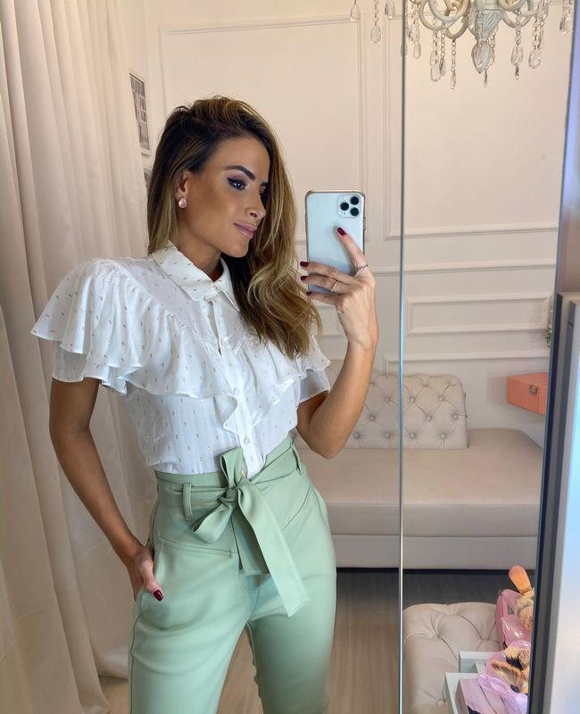 Camisa Viscose com Estampa Foil e Babados Unique Chic