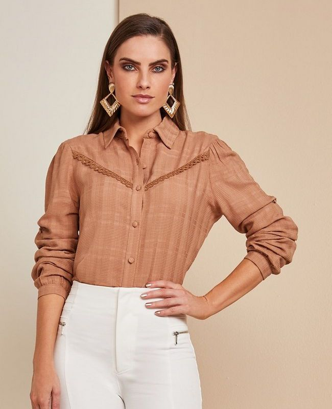 Camisa Viscose Recorte Renda Unique Chic
