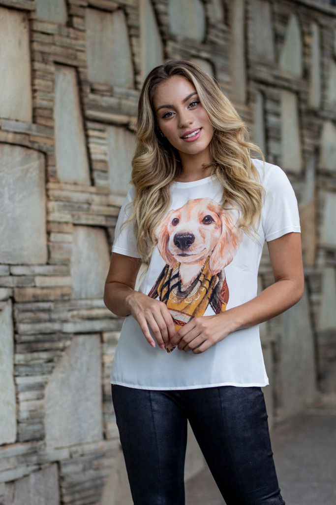Camiseta em Crepe com Costas Malha Estampa Cachorrinho Linny