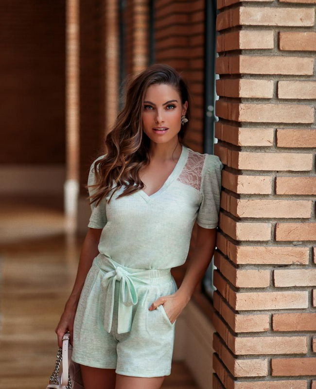 Conjunto Malha Jacquard Shorts e Tshirt Donna Ritz