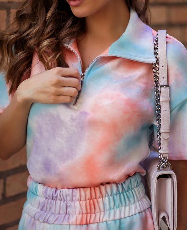 Conjunto Shorts e Blusa Moletinho Tie Dye Donna Ritz