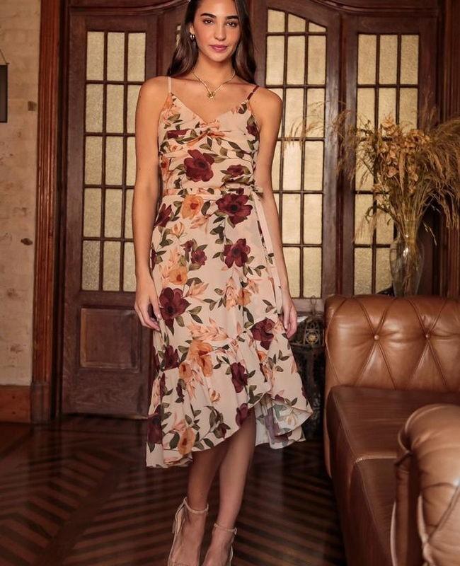 Saia Estampa Floral com Detalhe de Babado Franzido na Barra Donna Ritz