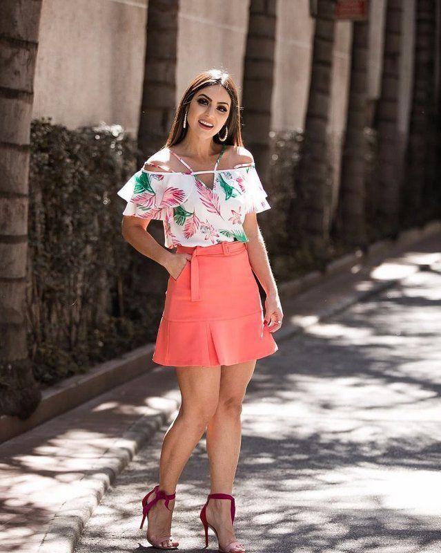 Saia Evasê Linny Fashion com Cinto Bolsos e Barra Drapeada