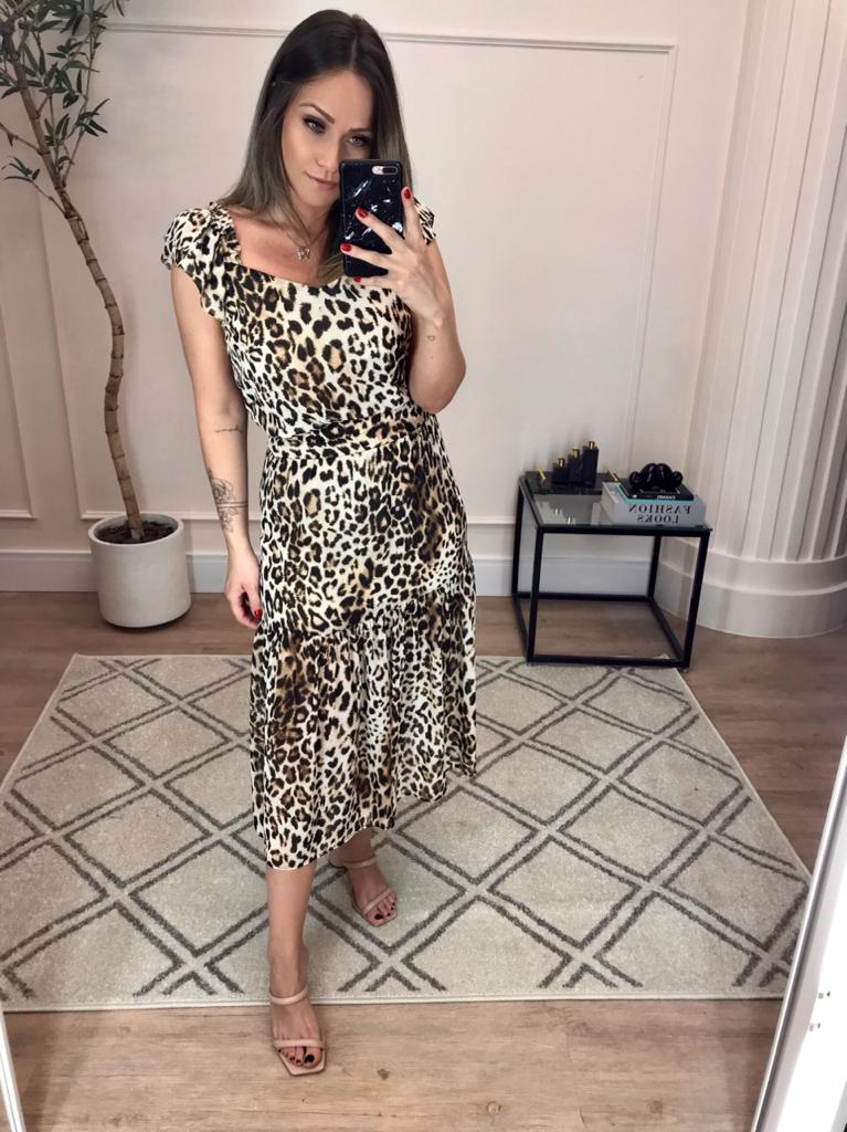 Saia Midi Animal Print com Recorte Donna Ritz