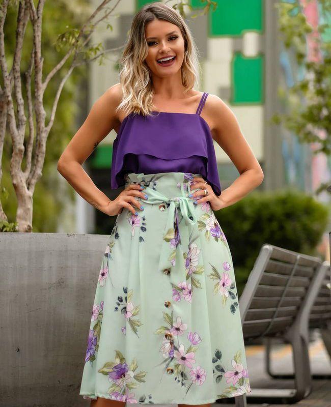 Saia Midi Clochard Floral com Botoes Doce Flor