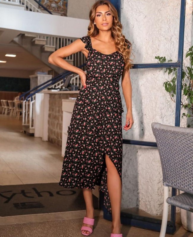 Saia Midi em Crepe com Estampa Floral Daisy Donna Ritz