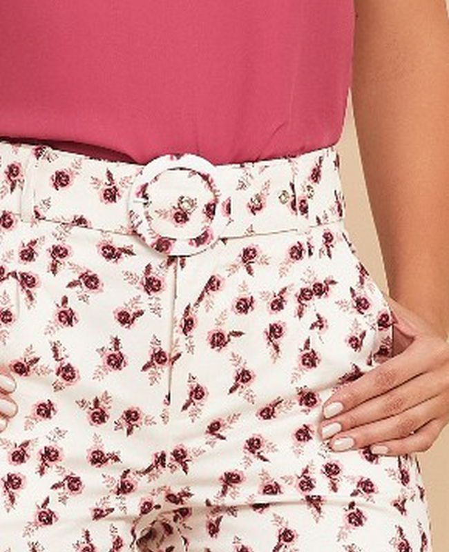 Short Liberty Unique Chic Algodao com Elastano e Cinto