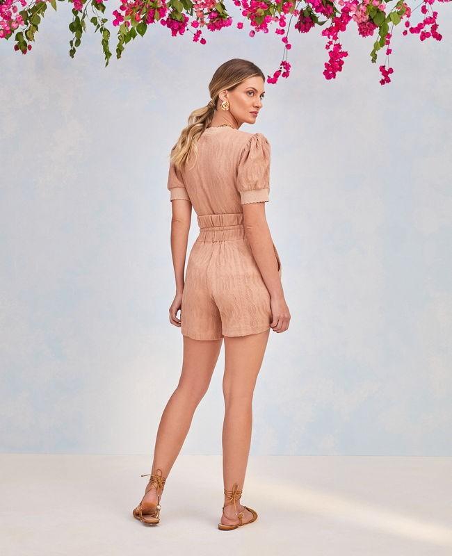 Short Malha Jacquard Elastico na Cintura Unique Chic