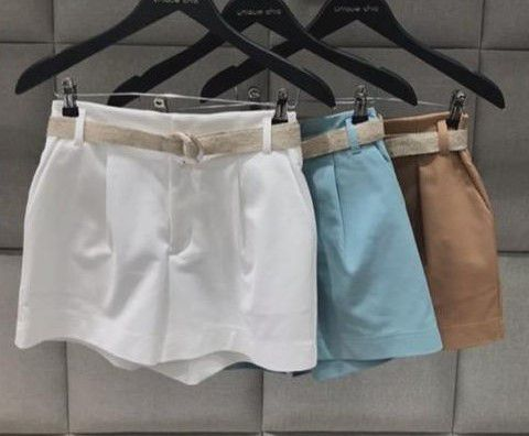 Shorts Alfaiataria Cinto Natural Unique Chic