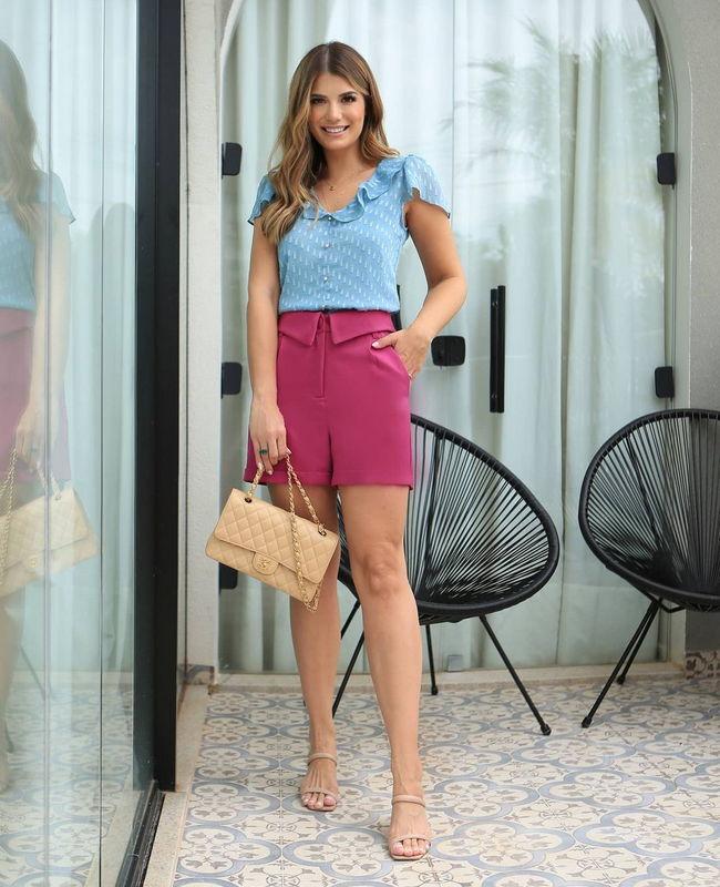 Shorts Clochard com Barra Italiana Doce Flor