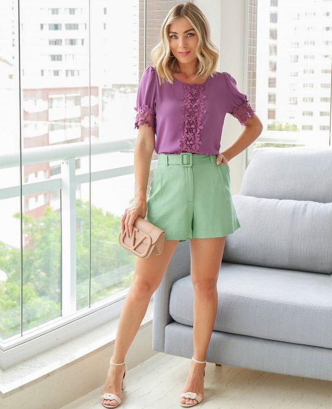 Shorts com Cinto em Linho Doce Flor