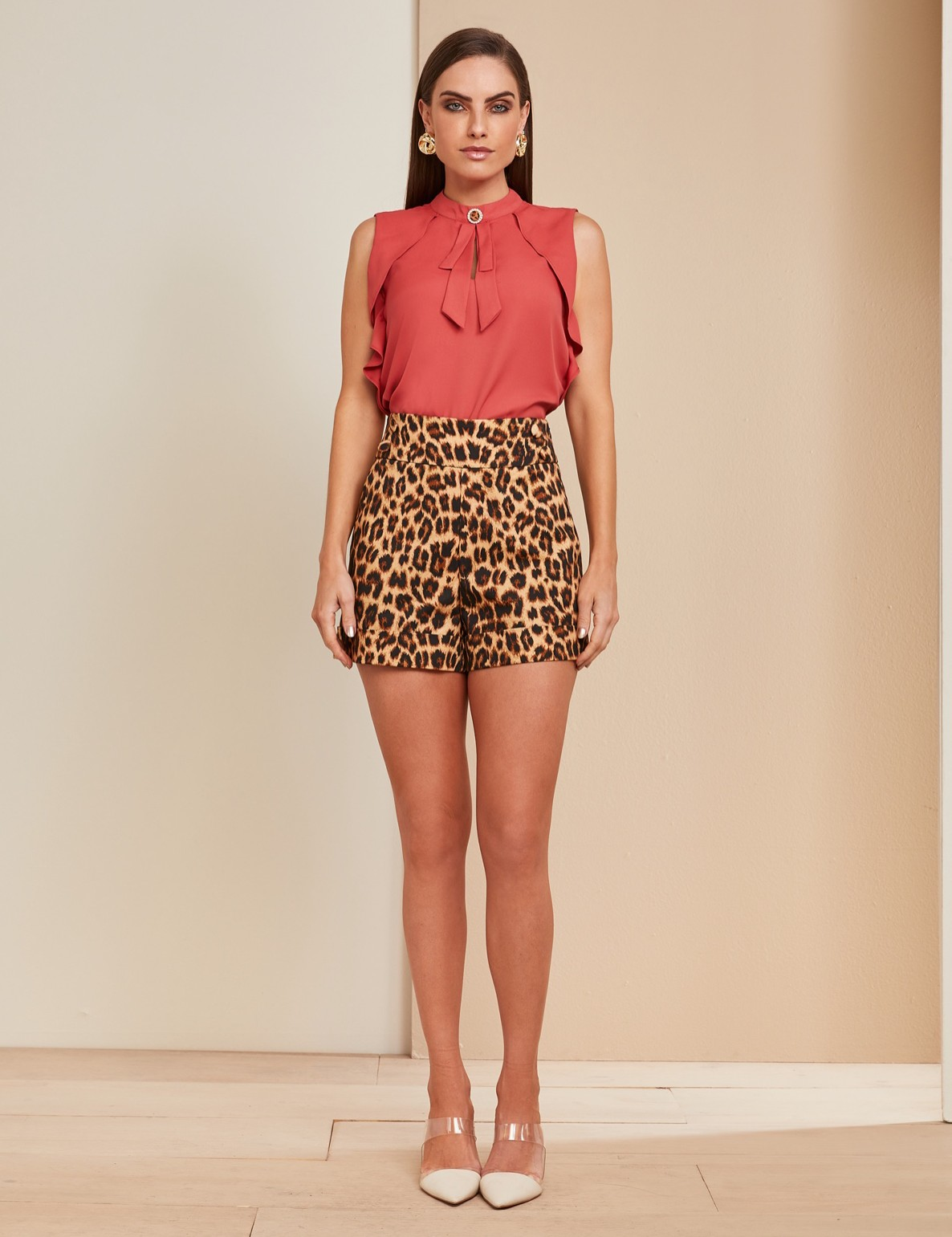 Shorts Sarja Animal Print Unique Chic