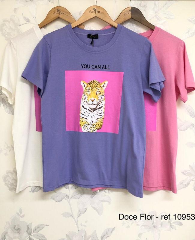 T-Shirt Estampa Tigre Doce Flor