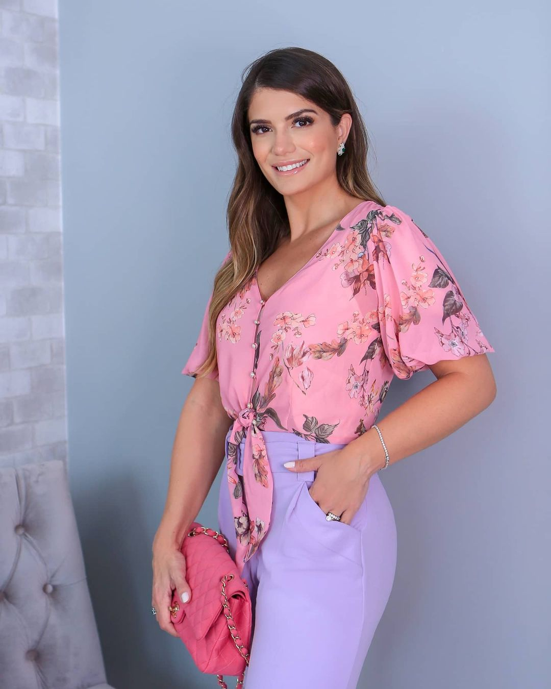Top Cropped Estampa Floral com Amarracao Doce Flor