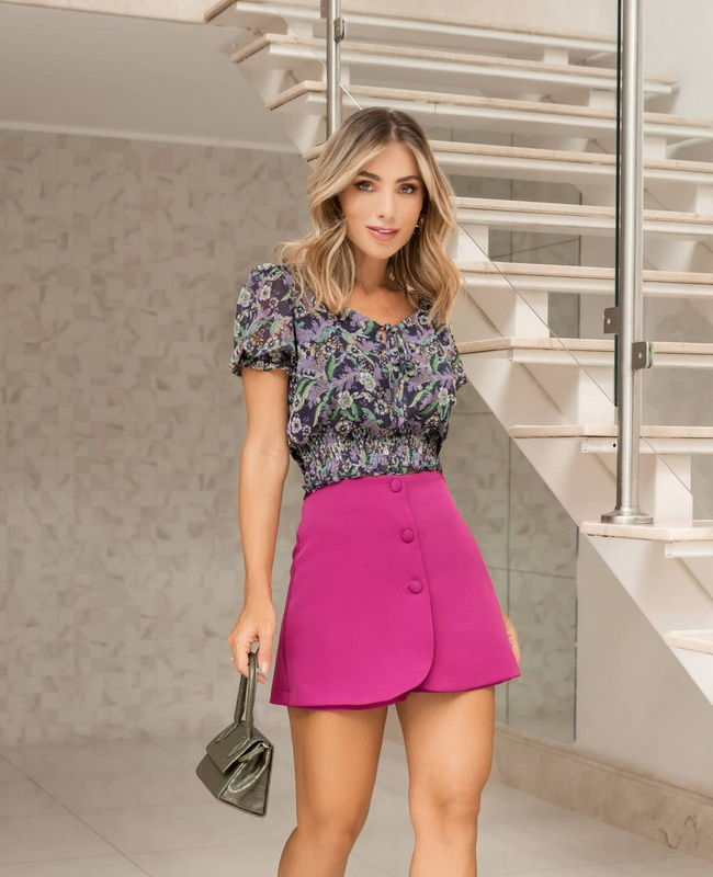 Top Cropped Floral com Punho Lastex