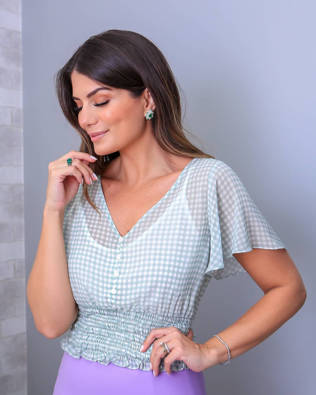 Top Cropped Vichy Punho Lastex Doce Flor