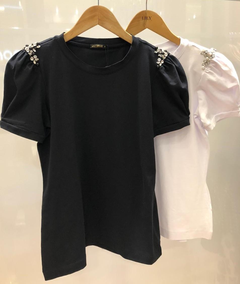 Tshirt Cotton com Apliques no Ombro Lily Belle