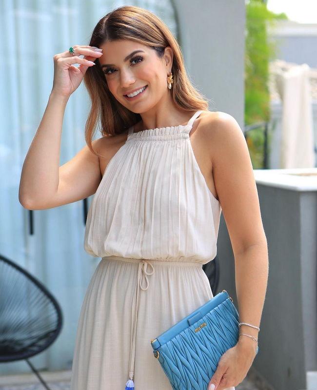 Vestido Ariane Canovas Tricolor Aramodu em Viscolinho