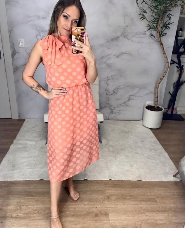 Vestido Confeccionado em Tecido Devore com Poas Donna Ritz