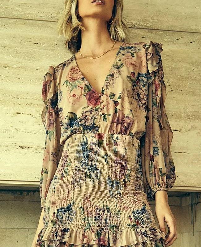 Vestido Curto de Tule Floral Hortencia Jo Concept