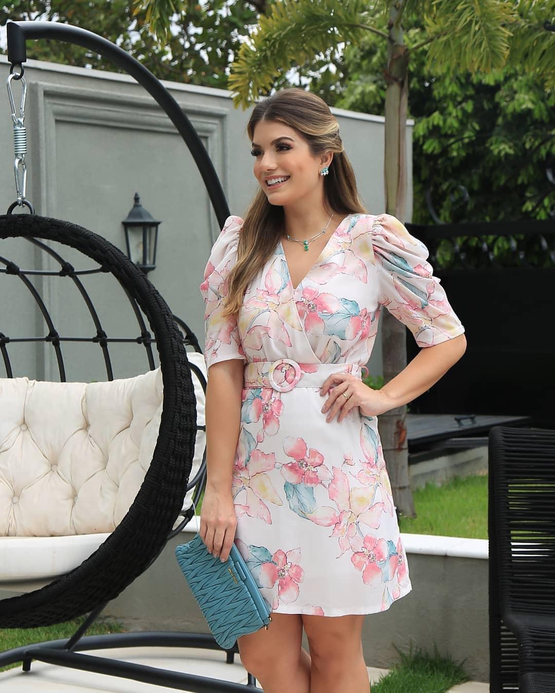 Vestido Doce Flor Transpassado em Crepe com Cinto