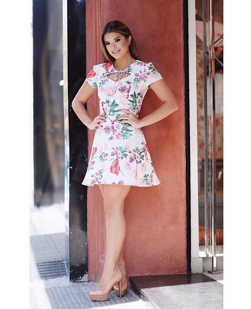 Vestido Donna Ritz Floral Evasê em Crepe