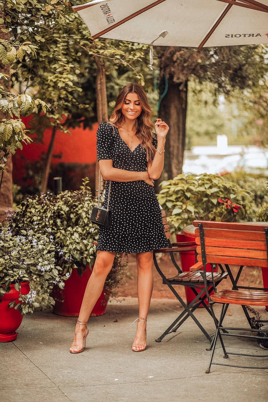 Vestido Donna Ritz Poa em Crepe com Camadas na Saia