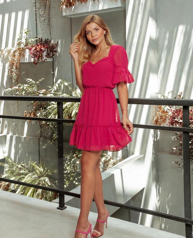 Vestido Estampa Poas com Decote Princesa Donna Ritz