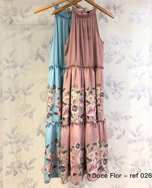 Vestido Floral Com Barrado Midi Doce Flor