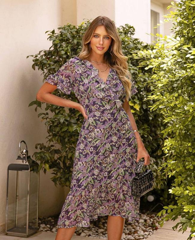 Vestido Floral com Jabots Doce Flor