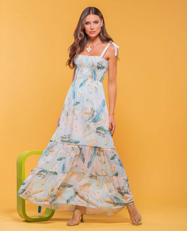 Vestido Floral com Lastex e Lacinho na Alca Aramodu