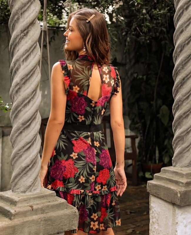 Vestido Floral em Tule com Gola Alta Donna Ritz