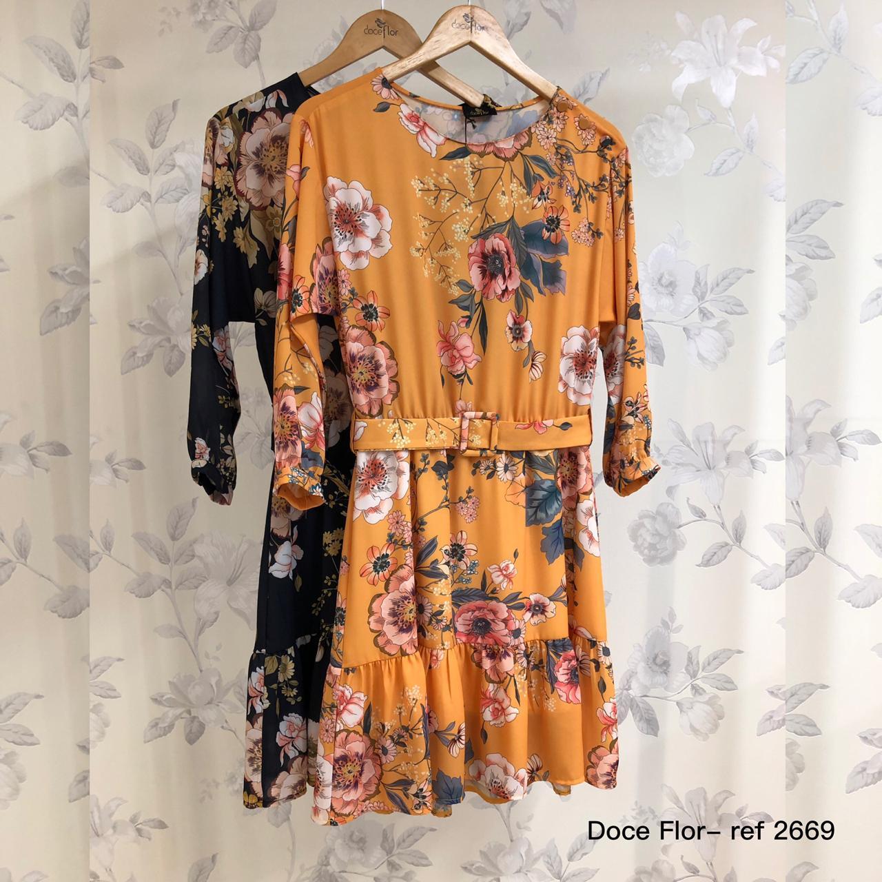 Vestido Floral Manga Longa Doce Flor em Crepe com Cinto
