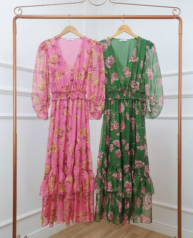 Vestido Floral Manga Longa em Chiffon Milalai