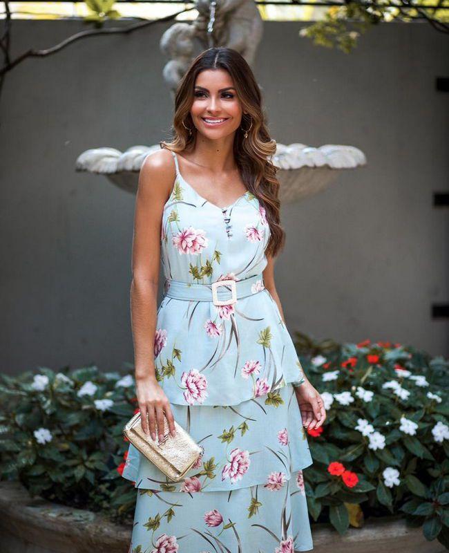 Vestido Floral Midi Milalai com Babados na Saia em Viscose