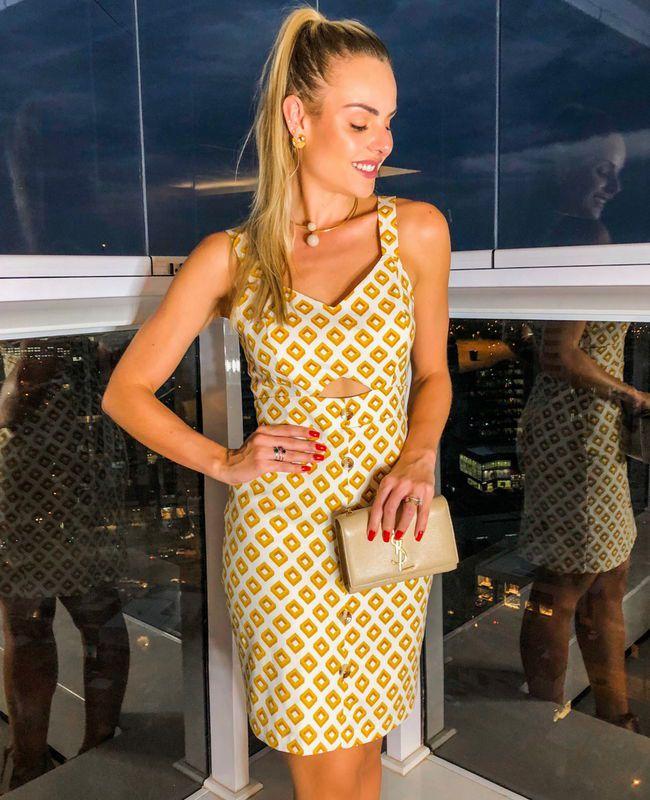 Vestido Linho Geometrico Print Unique Chic