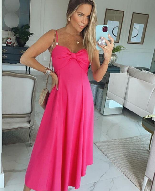 Vestido Longo com Alca Regulador com Decote Fomato Laco Donna Ritz