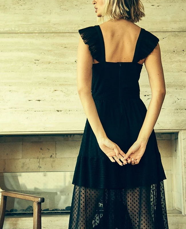 Vestido Longo De Tule Com Poa E Plissadinhos Jo Concept