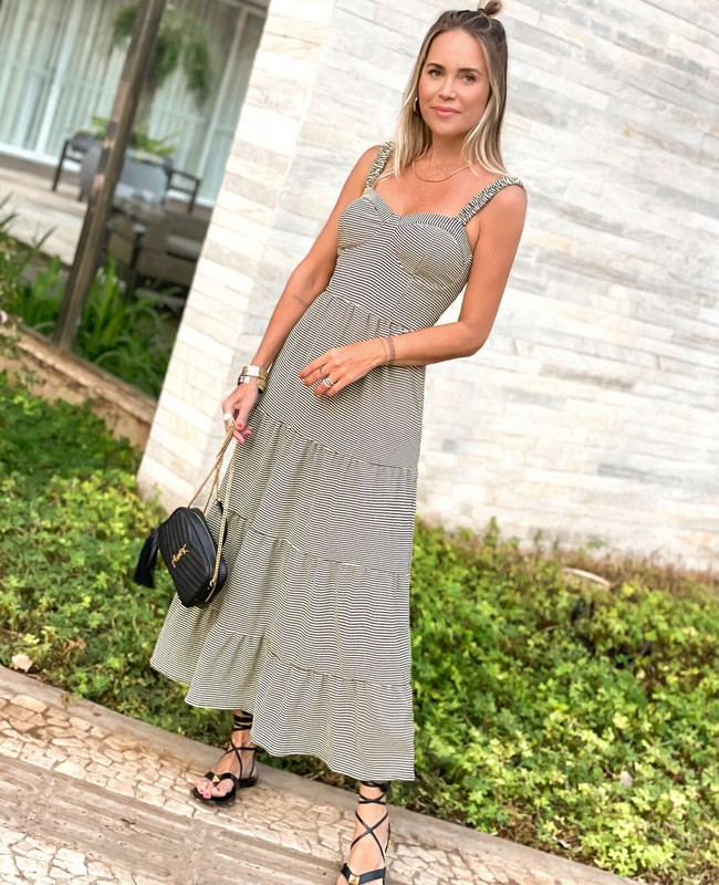 Vestido Longo em Malha com Estampa Vichy Milalai