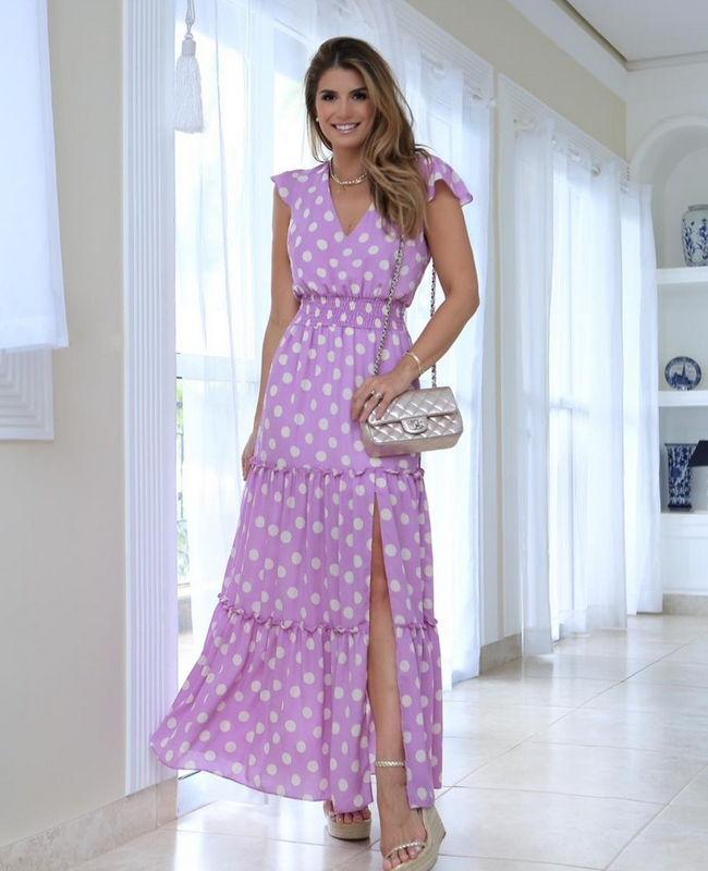Vestido Longo Estampa Poas com Fenda Milalai
