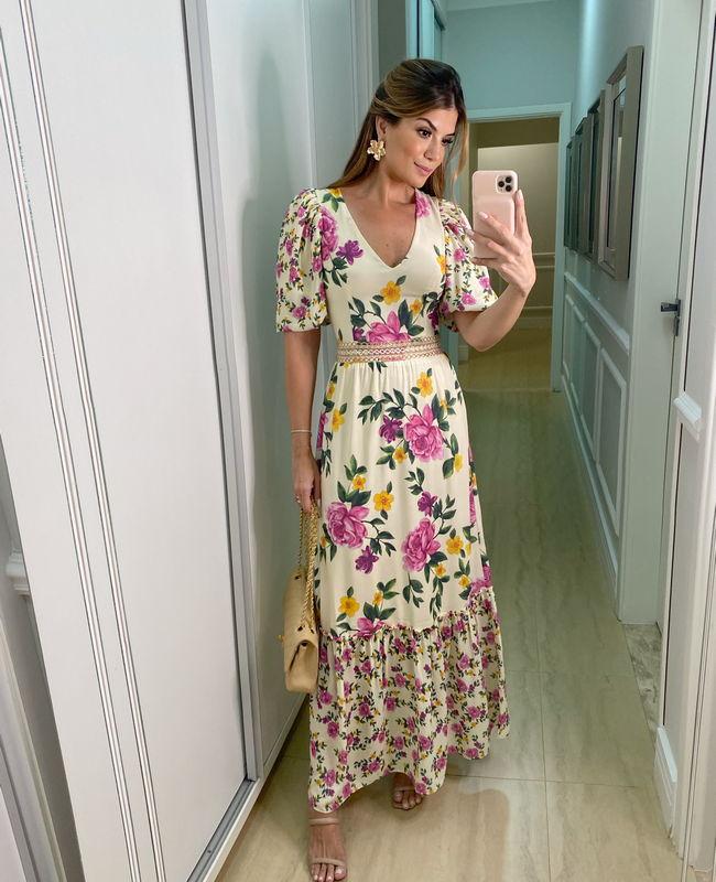 Vestido Longo Floral Ariane Canovas com Decote V