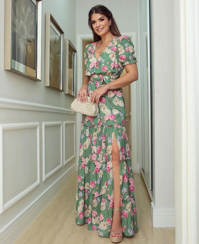 Vestido Longo Floral com decote Transpassado Milalai