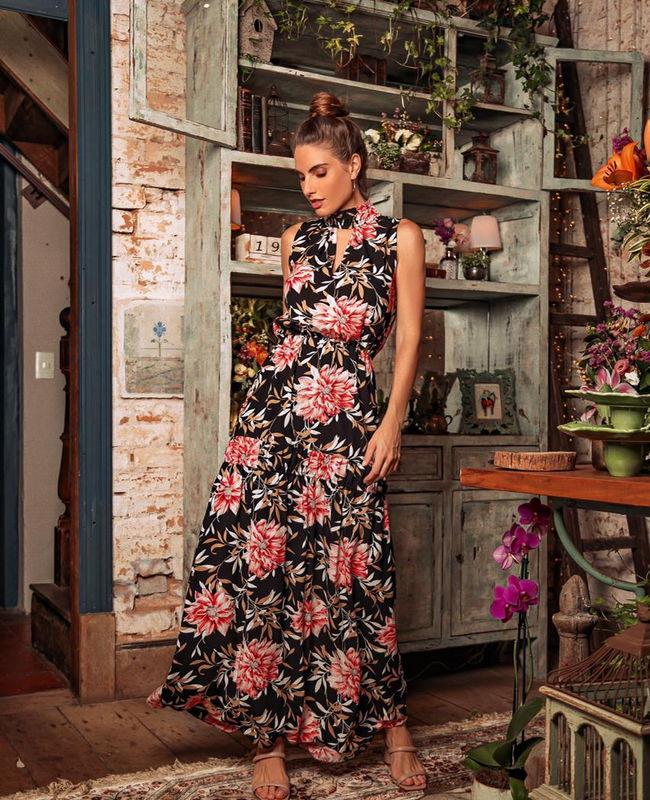 Vestido Longo Floral com Lastex Donna Ritz
