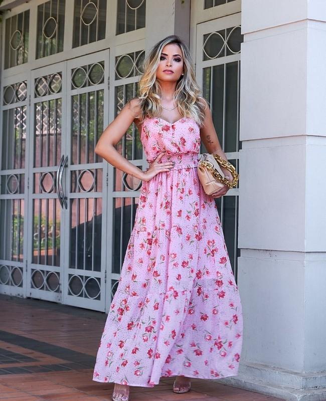 Vestido Longo Floral com Marias Doce Flor