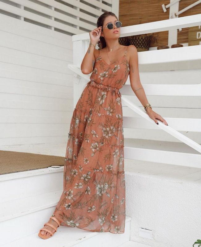 Vestido Longo Floral com Marias Milalai