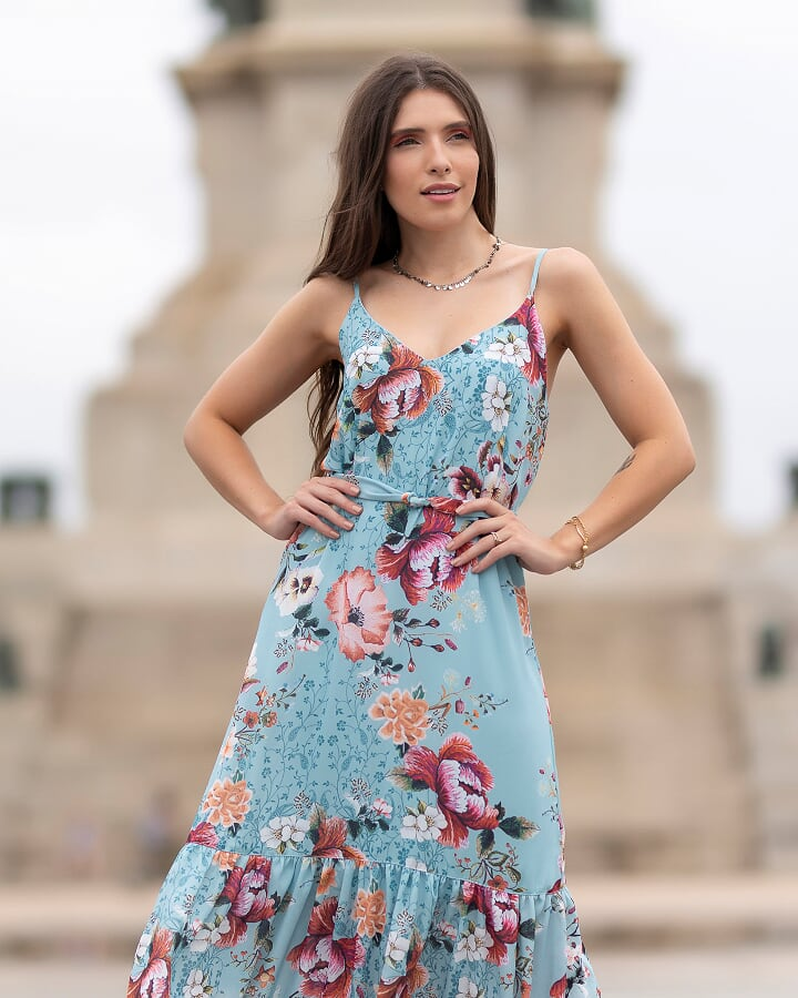 Vestido Longo Floral em Crepe com Faixa Pitanga SP