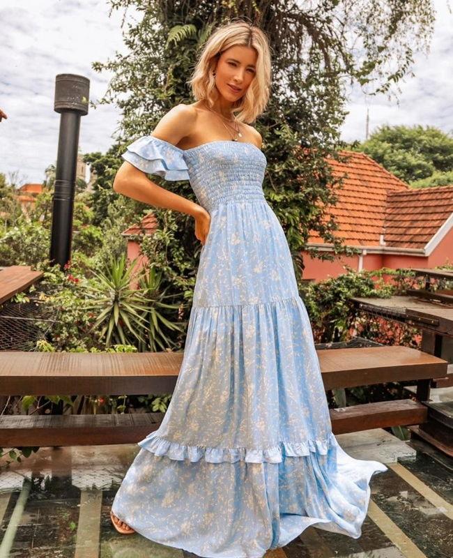 Vestido Longo Fluido em Viscose Estampada Com Lastex Milalai