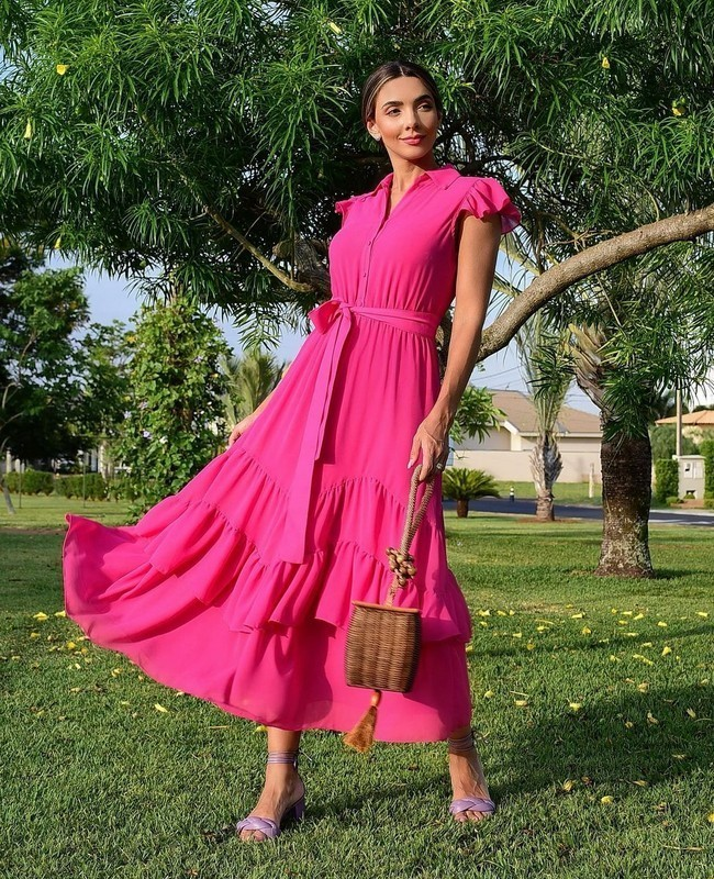 Vestido Maxi Tres Marias Liso com Faixa na Cintura Milalai