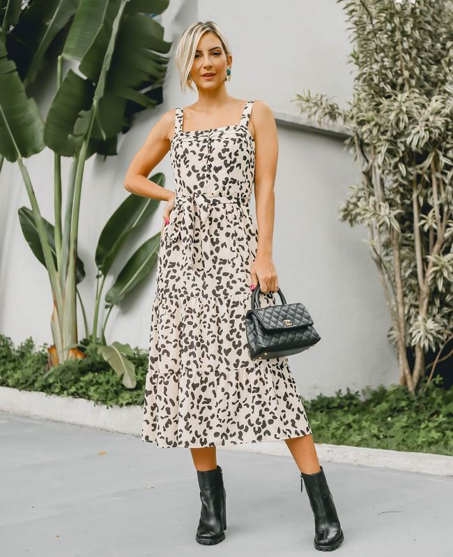 Vestido Midi Animal Print Unique Chic